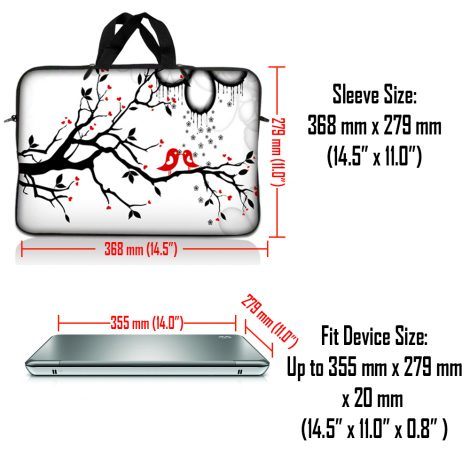 Notebook / Netbook Sleeve Carrying Case w/ Handle – Love Birds