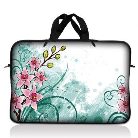 Notebook / Netbook Sleeve Carrying Case w/ Handle – Pink Flower Floral