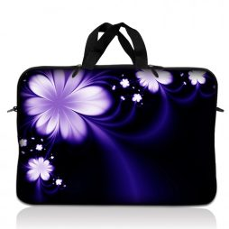 Notebook / Netbook Sleeve Carrying Case w/ Handle – Purple Flower Floral
