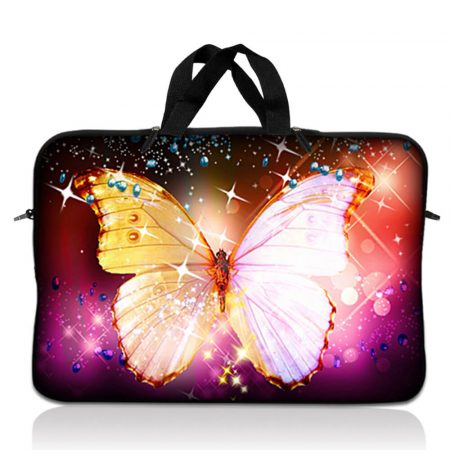 Notebook / Netbook Sleeve Carrying Case w/ Handle – Sparkling Butterfly