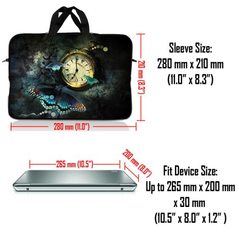 Notebook / Netbook Sleeve Carrying Case w/ Handle – Clock Butterfly Floral