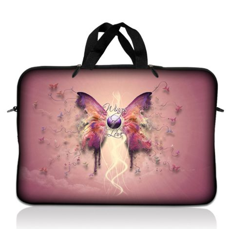 Notebook / Netbook Sleeve Carrying Case w/ Handle – Pink Butterfly Floral