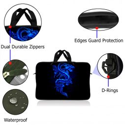 Notebook / Netbook Sleeve Carrying Case w/ Handle – Blue Dragon