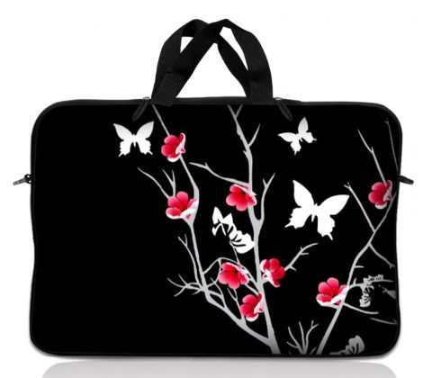Notebook / Netbook Sleeve Carrying Case w/ Handle – Pink Gray Floral