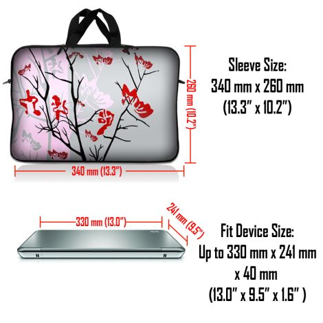 Notebook / Netbook Sleeve Carrying Case w/ Handle – Pink Gray