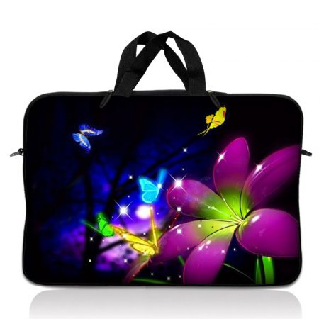 Notebook / Netbook Sleeve Carrying Case w/ Handle – Purple Blue Floral