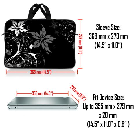 Notebook / Netbook Sleeve Carrying Case w/ Handle – Black and White Floral