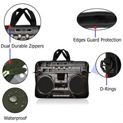 Notebook / Netbook Sleeve Carrying Case w/ Handle – Cassette Player Design