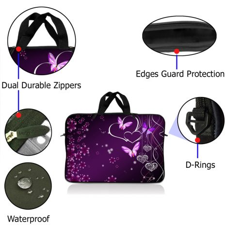 Notebook / Netbook Sleeve Carrying Case w/ Handle – Purple Heart Butterfly