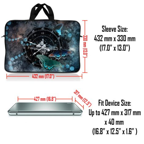Notebook / Netbook Sleeve Carrying Case w/ Handle – Clock Butterfly Time