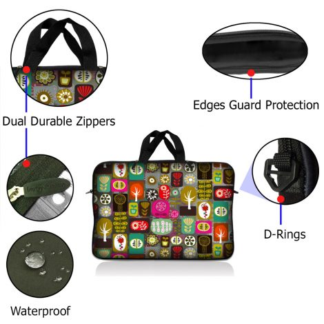 Notebook / Netbook Sleeve Carrying Case w/ Handle – Symbols