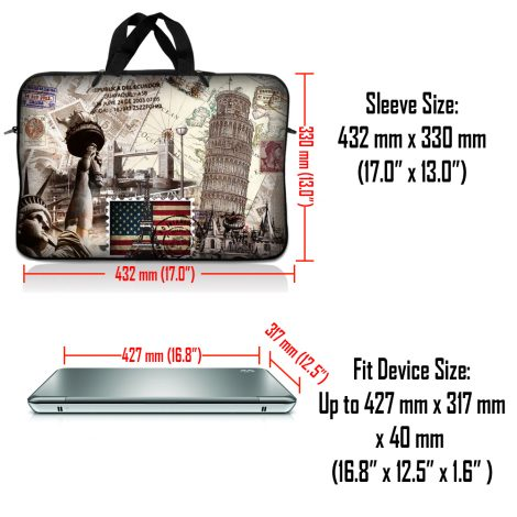 Notebook / Netbook Sleeve Carrying Case w/ Handle – World Landmarks