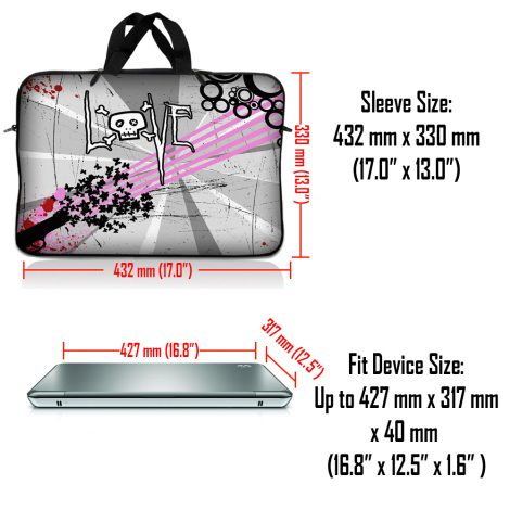 Notebook / Netbook Sleeve Carrying Case w/ Handle – Love Skull Floral