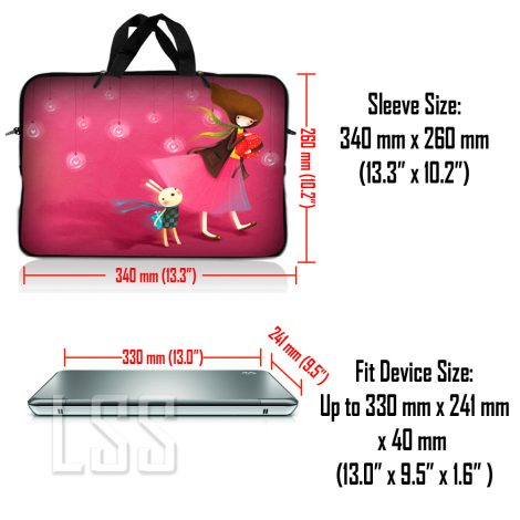 Notebook / Netbook Sleeve Carrying Case w/ Handle & Shoulder Strap – Girl Birthday Party