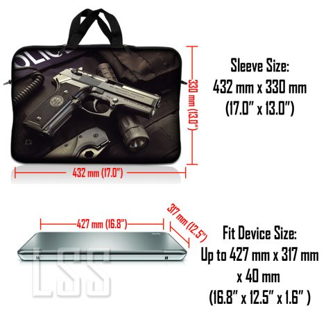 Notebook / Netbook Sleeve Carrying Case w/ Handle & Shoulder Strap – Police Gun Weapons