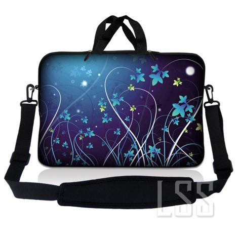 Notebook / Netbook Sleeve Carrying Case w/ Handle & Shoulder Strap – Blue Swirl Mid Summer Night Floral