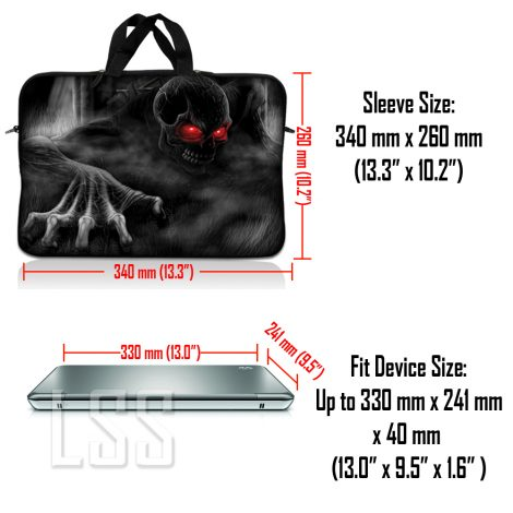Notebook / Netbook Sleeve Carrying Case w/ Handle & Shoulder Strap – Red Eye Dark Ghost Zombie Skull