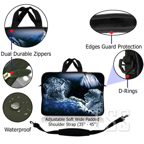 Notebook / Netbook Sleeve Carrying Case w/ Handle & Shoulder Strap – Mountain Lions