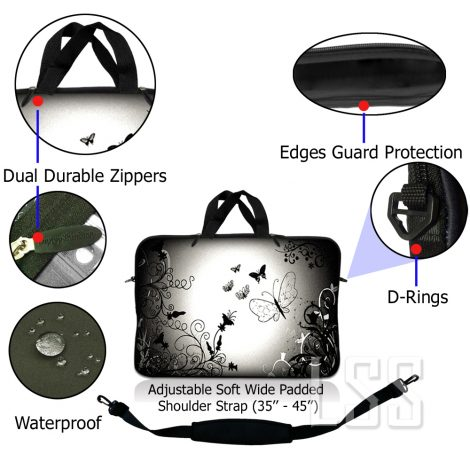 Notebook / Netbook Sleeve Carrying Case w/ Handle & Shoulder Strap – Dark Contrast Fade Butterfly