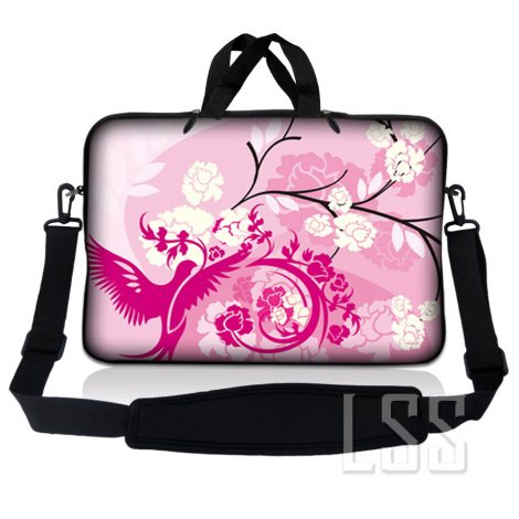 Notebook / Netbook Sleeve Carrying Case w/ Handle & Shoulder Strap – Pink White Roses Bird Floral