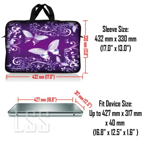 Notebook / Netbook Sleeve Carrying Case w/ Handle & Shoulder Strap – Purple Butterfly