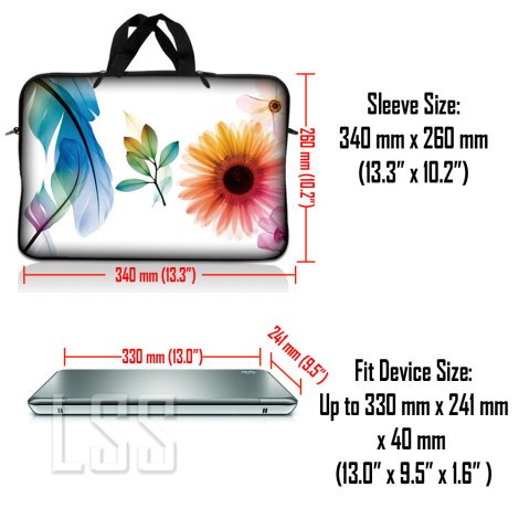 Notebook / Netbook Sleeve Carrying Case w/ Handle & Shoulder Strap – Daisy Flower Leaves Floral