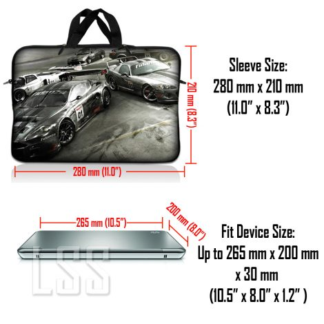Notebook / Netbook Sleeve Carrying Case w/ Handle & Shoulder Strap – Race Cars