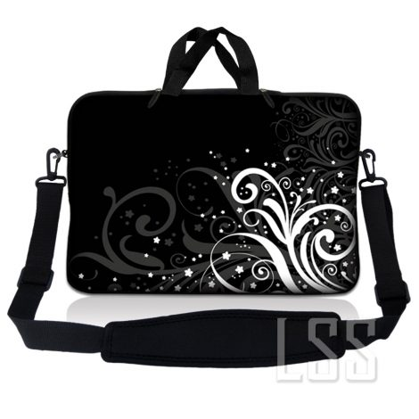 Notebook / Netbook Sleeve Carrying Case w/ Handle & Shoulder Strap – Black and White Floral