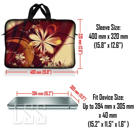 Notebook / Netbook Sleeve Carrying Case w/ Handle & Shoulder Strap –  Gold Flower Floral