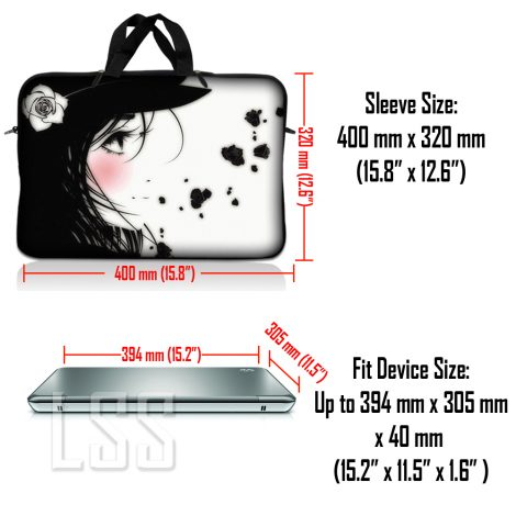 Notebook / Netbook Sleeve Carrying Case w/ Handle & Shoulder Strap – Girl with White Rose