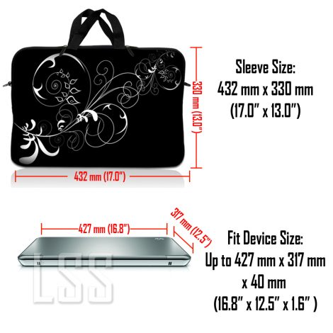 Notebook / Netbook Sleeve Carrying Case w/ Handle & Shoulder Strap – Vines Black and White Swirl Floral