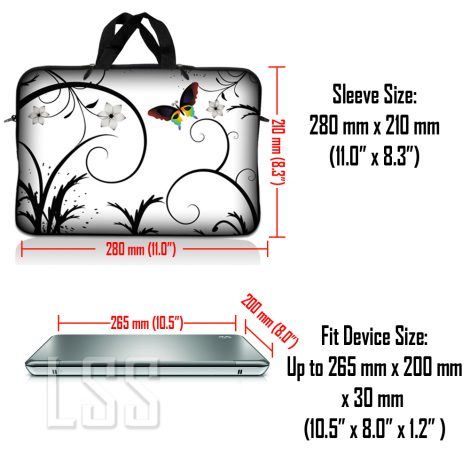 Notebook / Netbook Sleeve Carrying Case w/ Handle & Shoulder Strap – White Butterfly Escape Floral