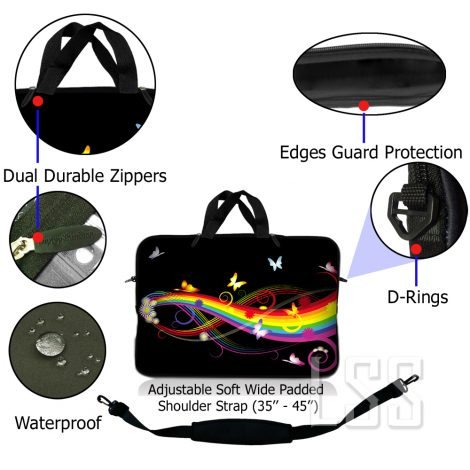 Notebook / Netbook Sleeve Carrying Case w/ Handle & Shoulder Strap – Rainbow Butterfly