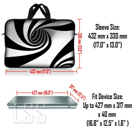 Notebook / Netbook Sleeve Carrying Case w/ Handle & Shoulder Strap – Tornado White and Black Swirl