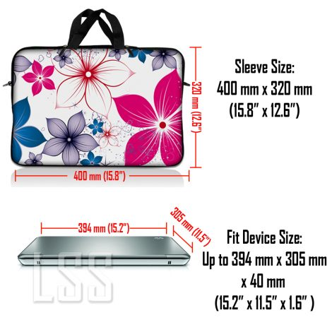 Notebook / Netbook Sleeve Carrying Case w/ Handle & Shoulder Strap – White Pink Blue Flower Leaves