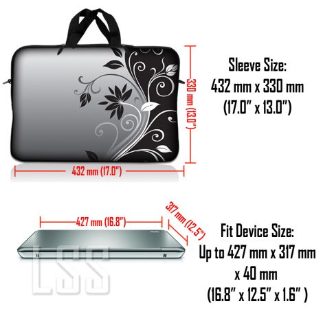 Notebook / Netbook Sleeve Carrying Case w/ Handle & Shoulder Strap – Gray Black Swirl Floral