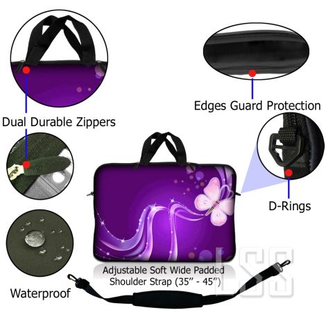 Notebook / Netbook Sleeve Carrying Case w/ Handle & Shoulder Strap – Purple Butterfly Floral