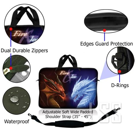 Notebook / Netbook Sleeve Carrying Case w/ Handle & Shoulder Strap – Fire & Ice Dragons