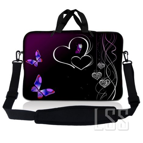 Notebook / Netbook Sleeve Carrying Case w/ Handle & Shoulder Strap – Butterfly Heart Floral