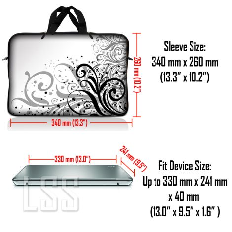 Notebook / Netbook Sleeve Carrying Case w/ Handle & Shoulder Strap – Grey Swirl Black & White Floral