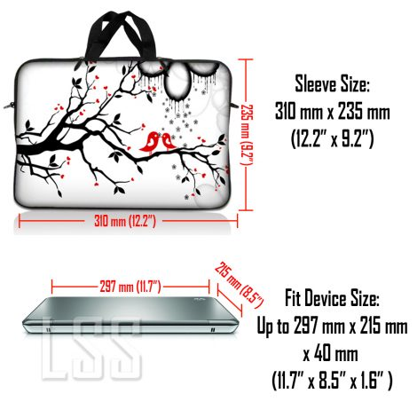 Notebook / Netbook Sleeve Carrying Case w/ Handle & Shoulder Strap – Love Birds