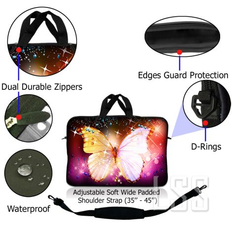 Notebook / Netbook Sleeve Carrying Case w/ Handle & Shoulder Strap – Sparkling Butterfly