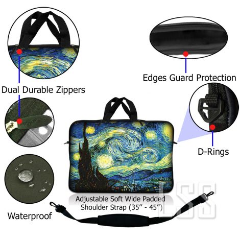 Notebook / Netbook Sleeve Carrying Case w/ Handle & Shoulder Strap – Starry Night
