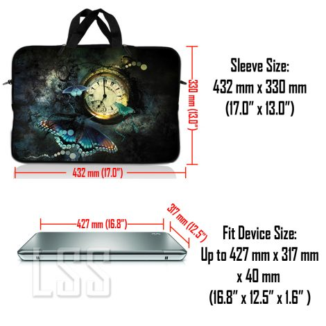 Notebook / Netbook Sleeve Carrying Case w/ Handle & Shoulder Strap – Clock Butterfly Floral