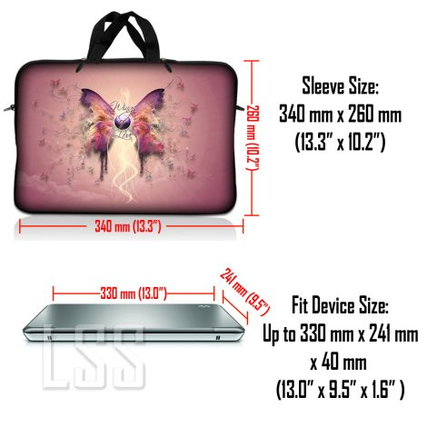 Notebook / Netbook Sleeve Carrying Case w/ Handle & Shoulder Strap – Pink Butterfly Floral