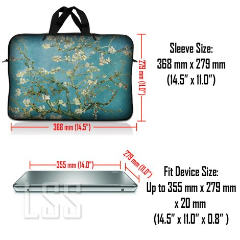 Notebook / Netbook Sleeve Carrying Case w/ Handle & Shoulder Strap – Almond Trees