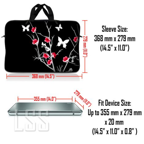 Notebook / Netbook Sleeve Carrying Case w/ Handle & Shoulder Strap – Pink Gray Floral