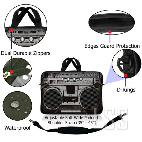 Notebook / Netbook Sleeve Carrying Case w/ Handle & Shoulder Strap – Cassette Player Design