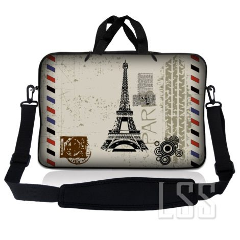 Notebook / Netbook Sleeve Carrying Case w/ Handle & Shoulder Strap – Paris Design