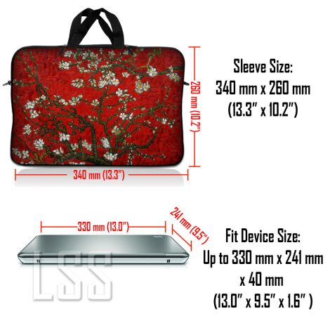 Notebook / Netbook Sleeve Carrying Case w/ Handle & Shoulder Strap – Red Almond Trees